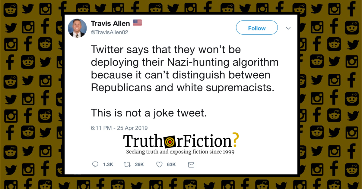 Is Twitter Withholding a 'Nazi-Hunting' Algorithm for Fear of Inadvertently Banning Republican Lawmakers?