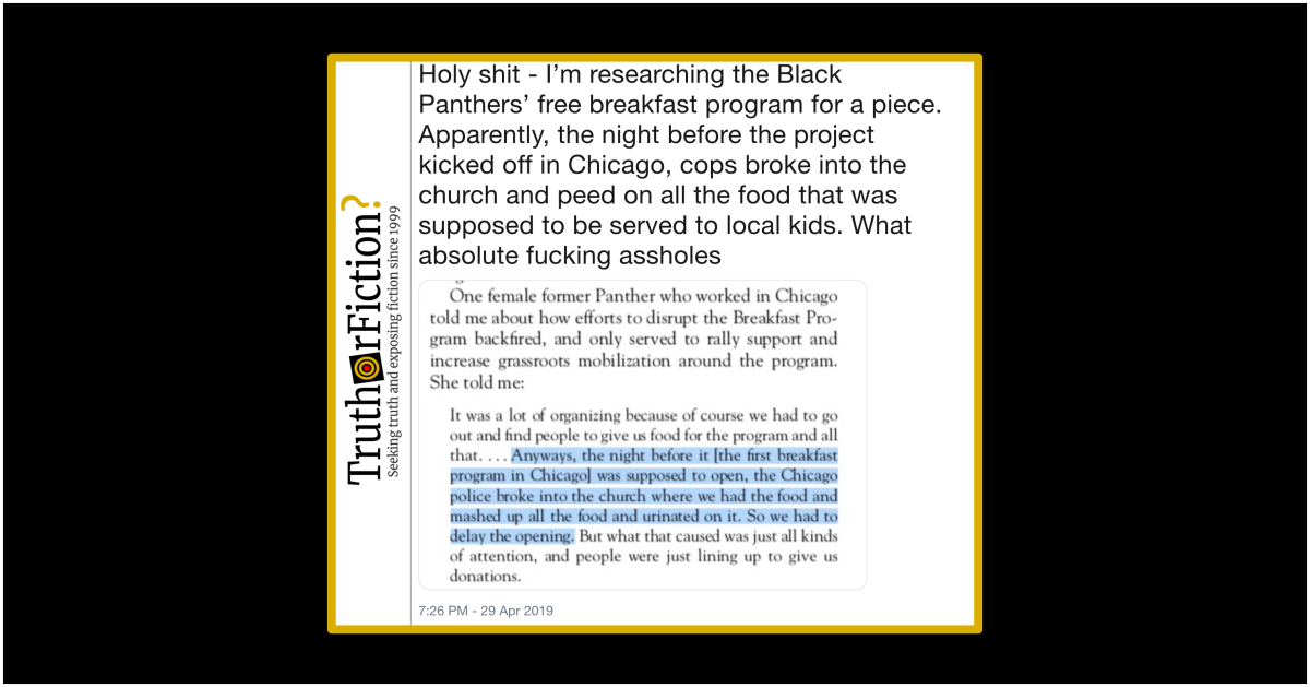 Did Chicago Police Urinate on Food for a Black Panthers Free Breakfast Program in 1969?