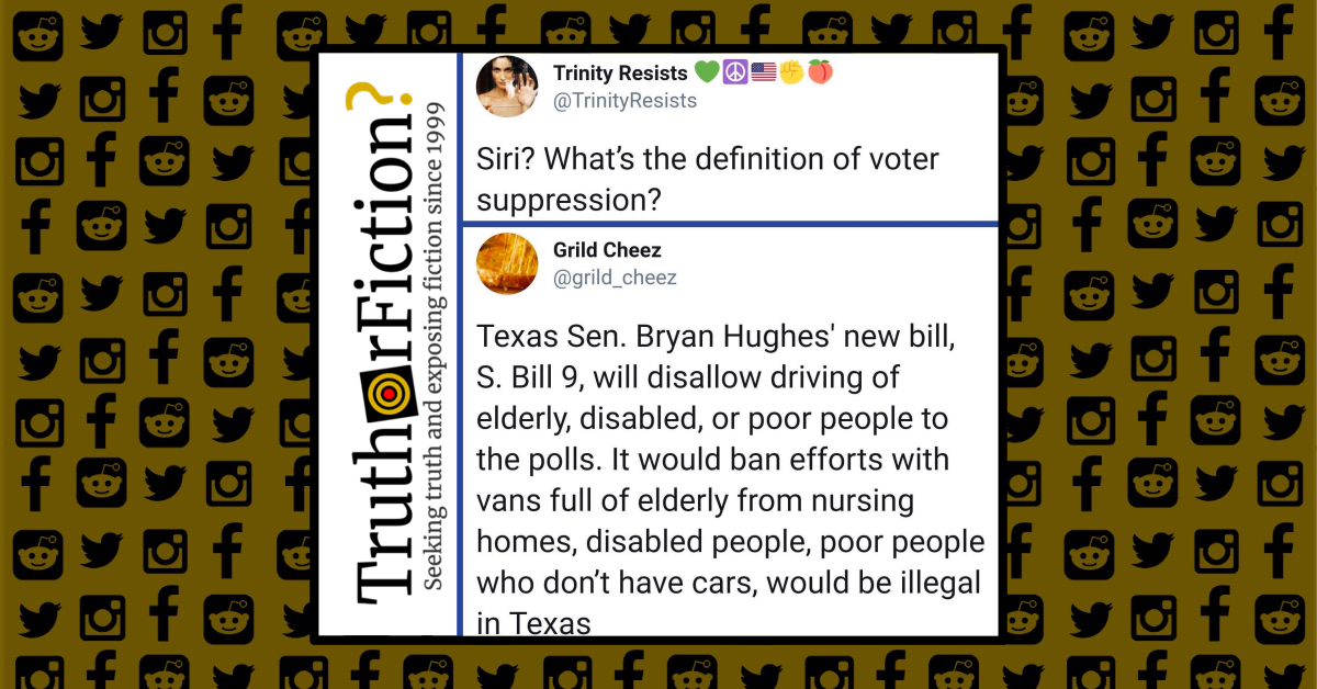 Is a Proposed Bill in Texas Trying to Disenfranchise the Elderly and Poor by Prohibiting Transportation to Polls?