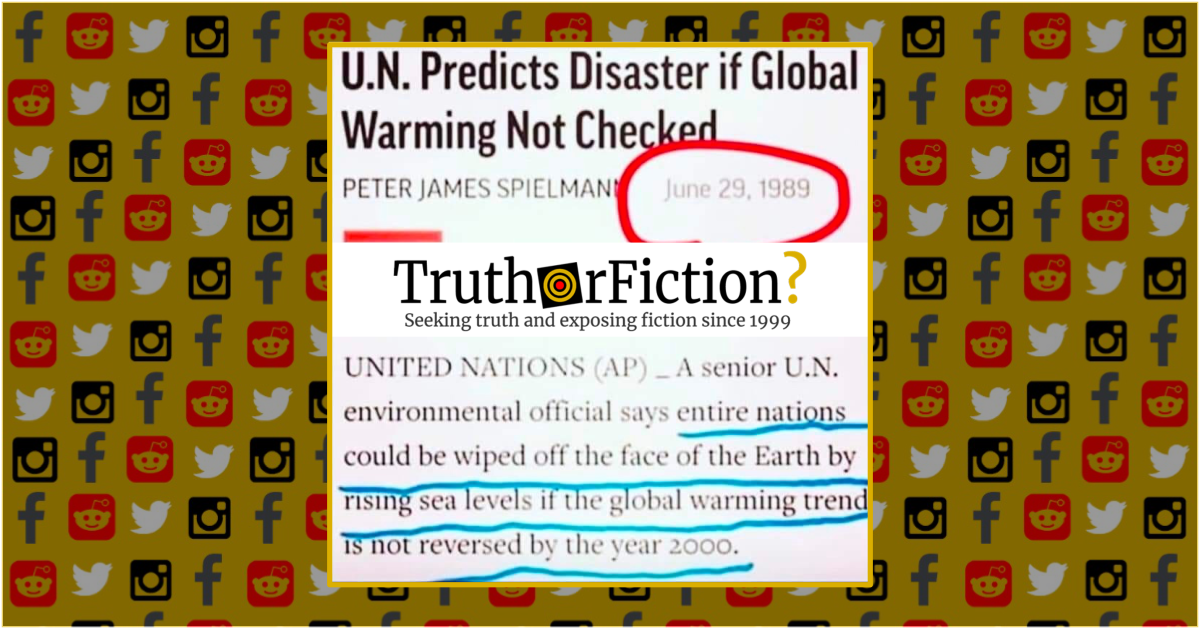 Is a 1989 'U.N. Predicts Disaster if Global Warming Not Checked' Article Authentic?