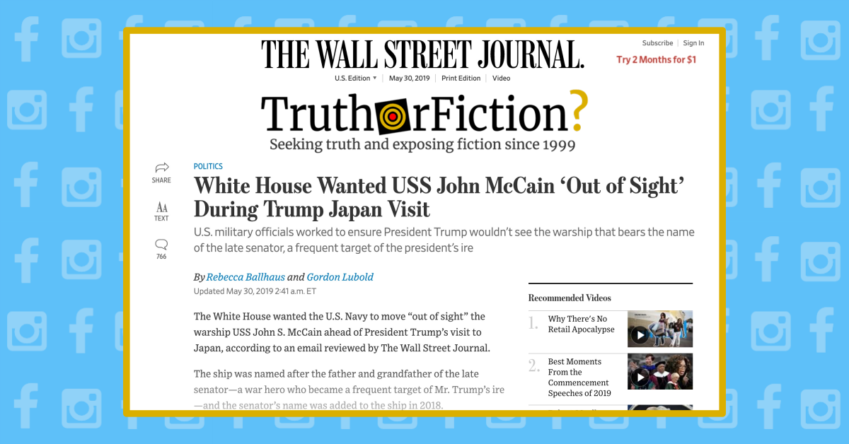 Was the USS John McCain Hidden From Sight for President Donald Trump's Japan Visit?