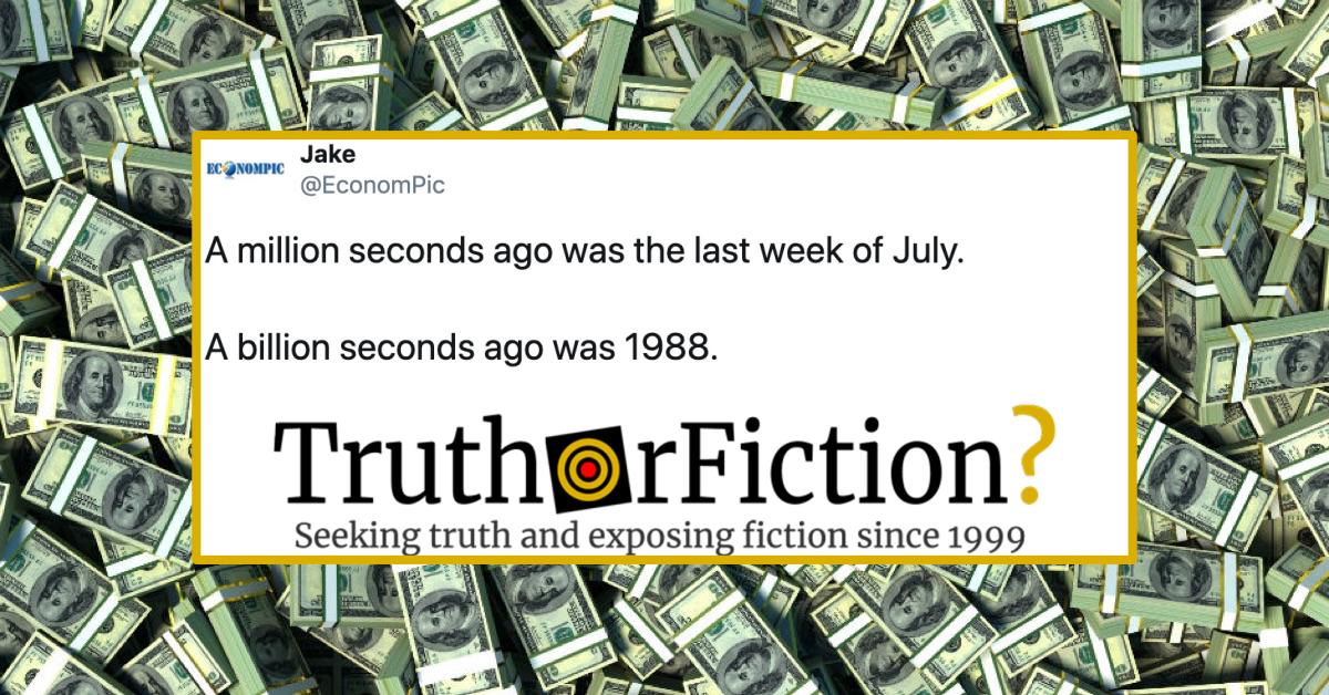 A Million Seconds Ago Was July 24th, a Billion Seconds Ago Was 1988?