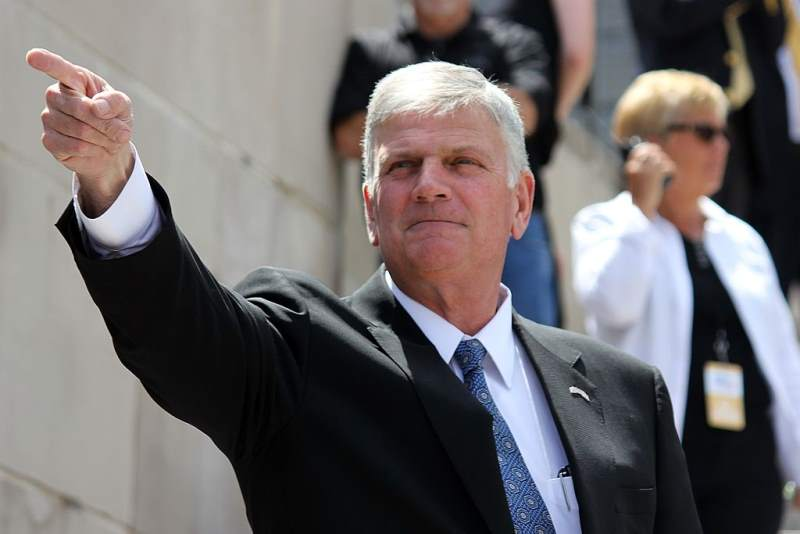 Franklin Graham during his Decision America tour at the Nebraska State Capitol Building in Lincoln, Nebraska.