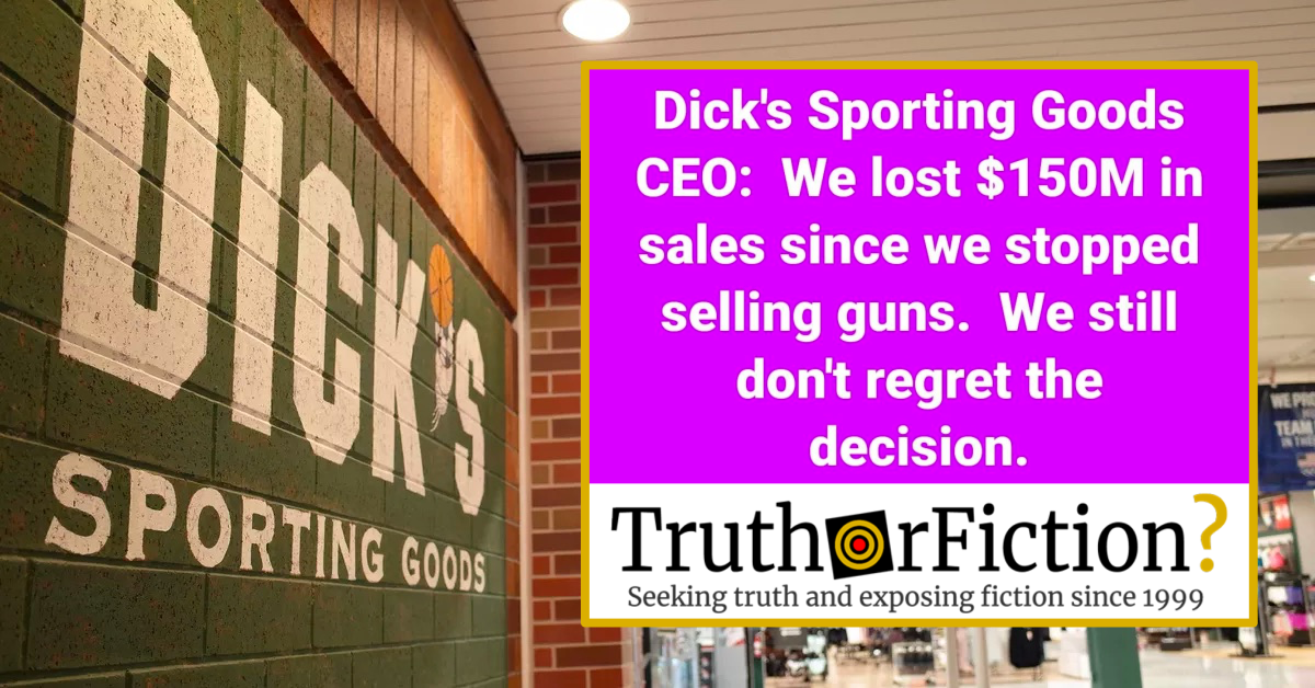 Did Dick's Sporting Goods Lose $150 Million After Reducing Gun Sales?