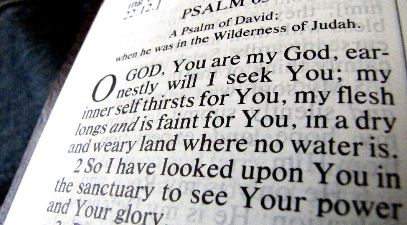 Biblical text showing Psalms 63.