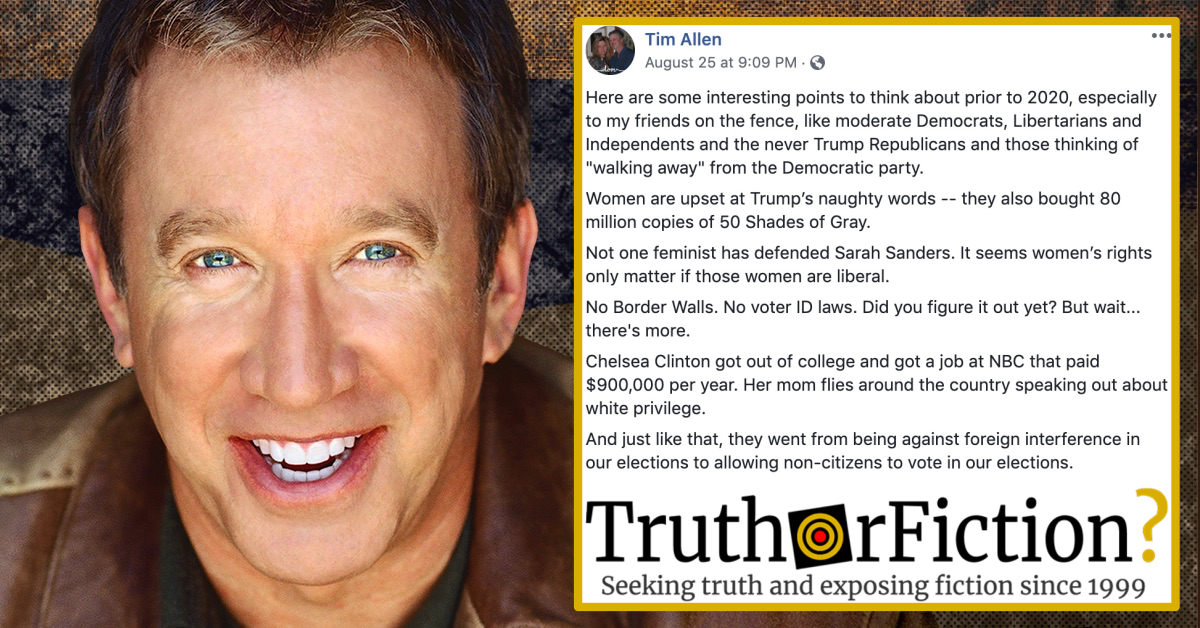 Tim Allen 'Trump 2020 or America Is Dead' Commentary