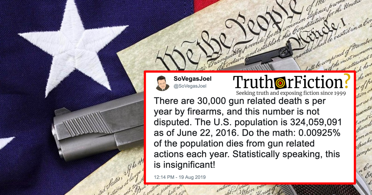'There are 30,000 Gun Related Deaths Per Year by Firearms'