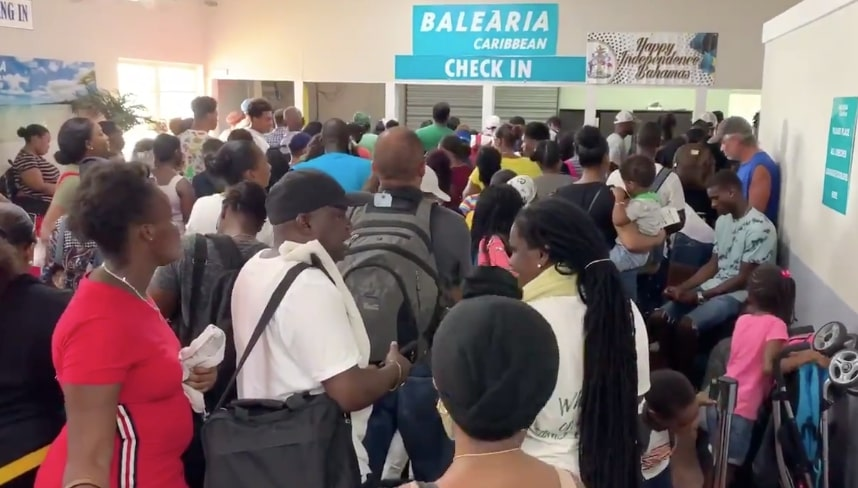 Still from video of evacuees waiting in the Bahamas to be ferried to the United States, September 8, 2019.
