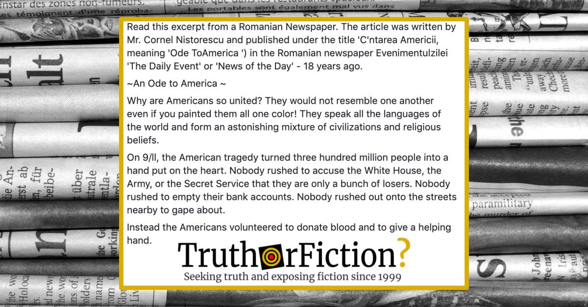 Cornel Nistorescu 9/11 'Ode to America' Editorial