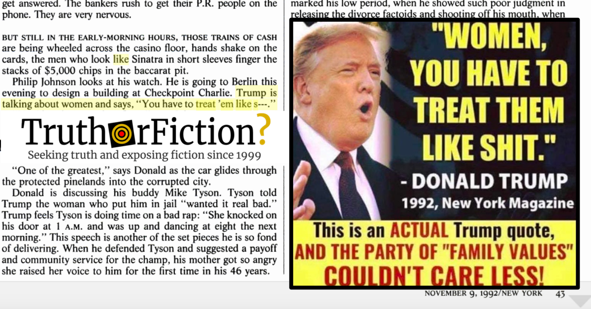 Did Donald Trump Say 'Women, You Have to Treat Them Like S—' in a 1992 Interview?