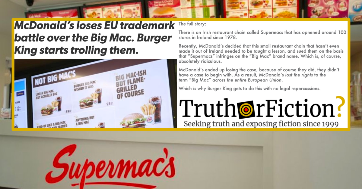 McDonald's Loses EU Trademark Battle over the Big Mac, Burger King Starts Trolling Them?