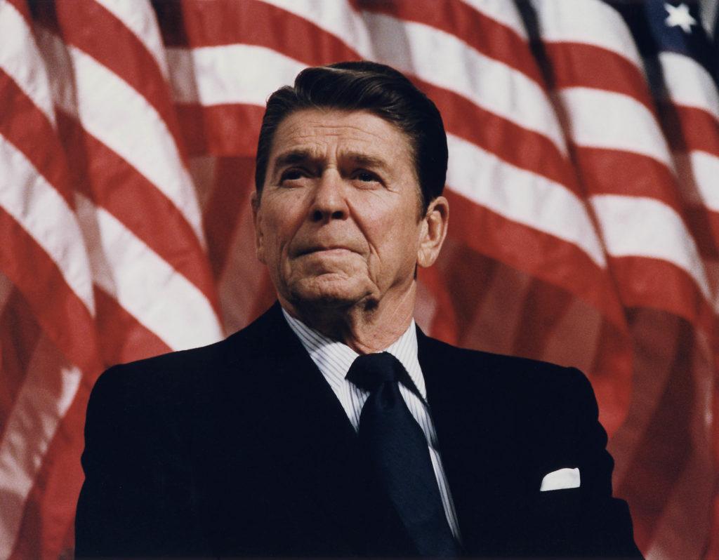 Former U.S. President Ronald Reagan at Durenberger Rally by Michael Evans, 1982 (NARA/Reagan Library.)