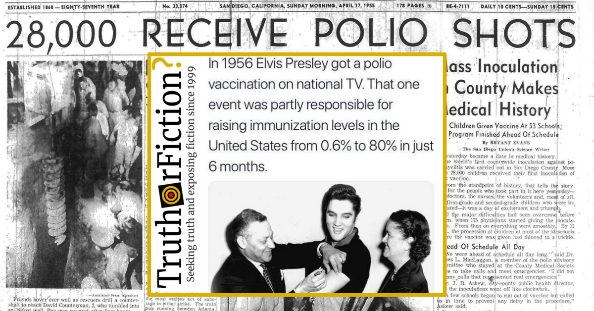 Did Elvis Presley Receive a Polio Vaccination on Live TV in 1956 and Raise Immunization Revels to 80 Percent?