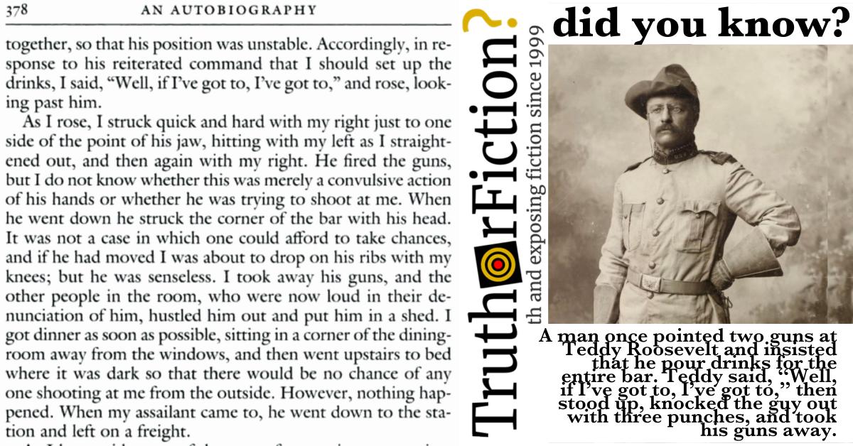 Teddy Roosevelt's Bar Fight: 'If I've Got to, I've Got to'