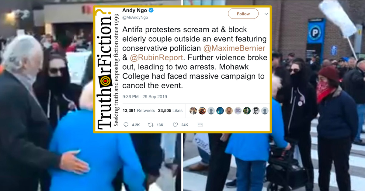 Does a Video Show 'Antifa Protesters' Screaming at an Elderly Woman Crossing the Street?