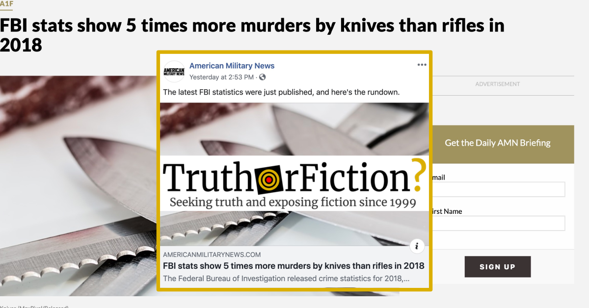 Did the FBI Say Knives are Used in Five Times More Murders than Rifles?