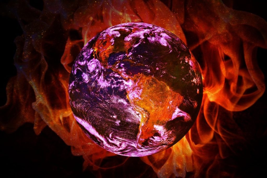 Artistic representation of Earth in flames.