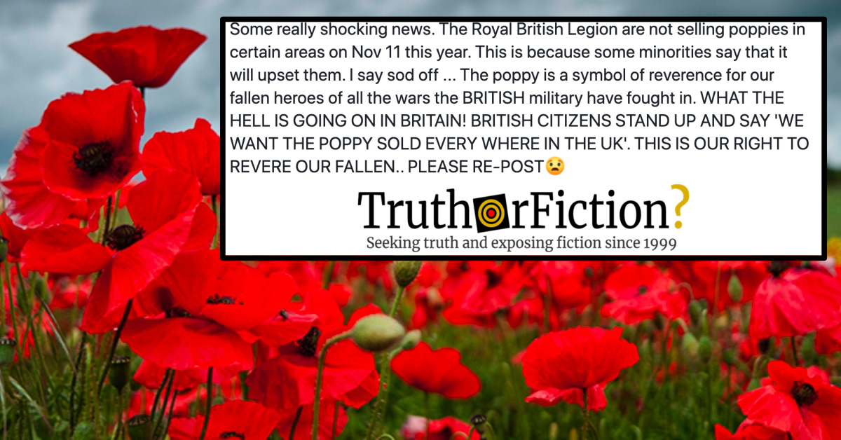 Recurring Disinformation Around Remembrance Day, Poppies, and 'Upset Minorities'
