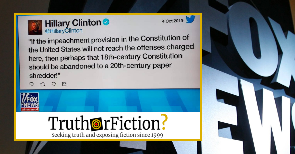 The Constitution, Impeachment, a Paper Shredder, and Hillary Clinton's Twitter