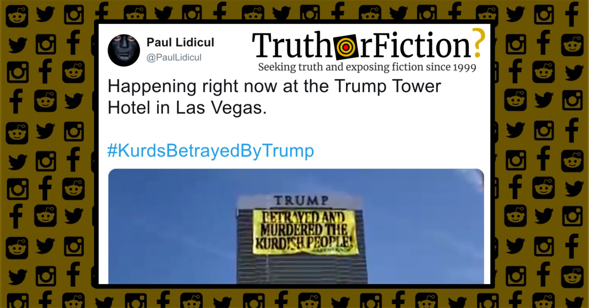 Was a Protest Banner Unfurled at Trump's Las Vegas Hotel?