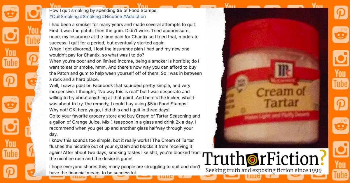 Cream of Tartar and Orange Juice to Quit Smoking?