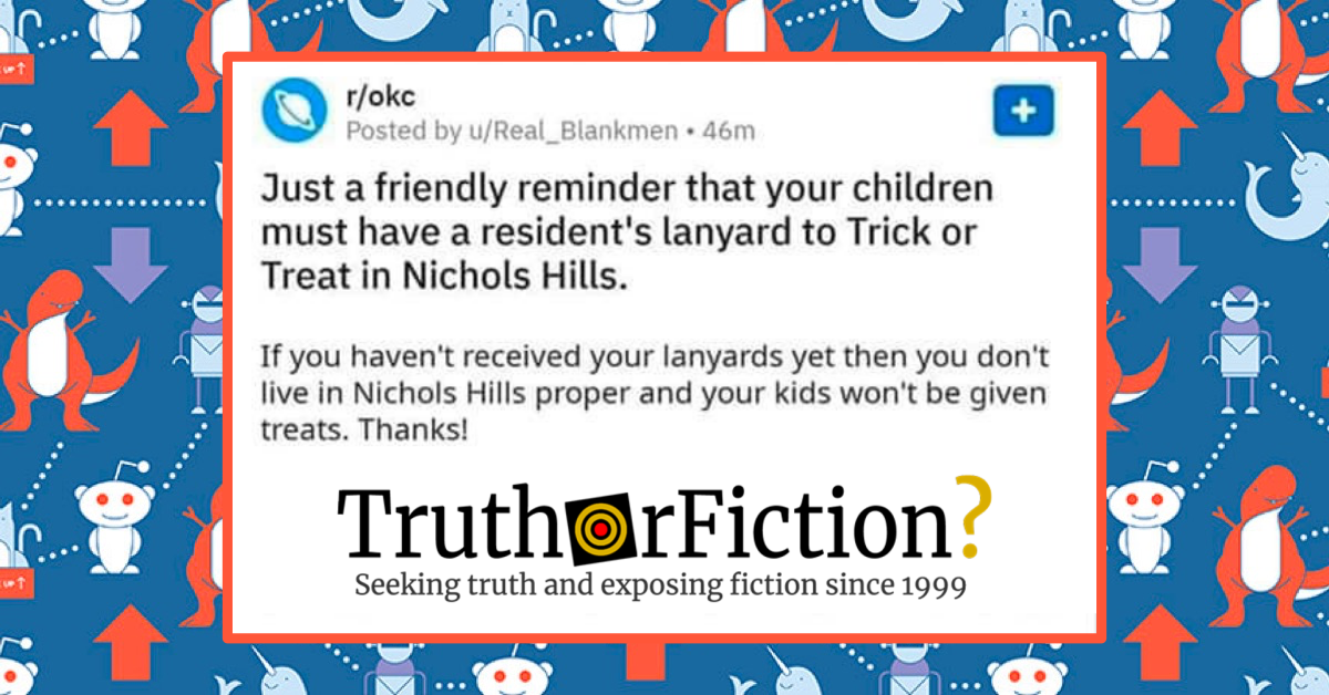 A Friendly Reminder Children Need a Lanyard to Trick or Treat in Nichols Hills?