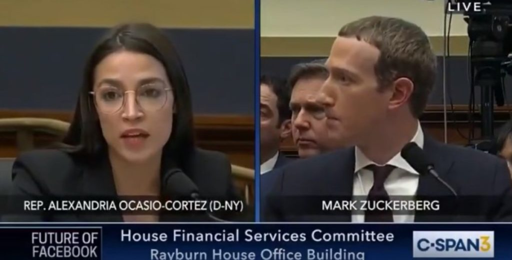 A still taken from video of Rep. Alexandria Ocasio-Cortez (D-New York) questioning Facebook chief executive officer Mark Zuckerberg.