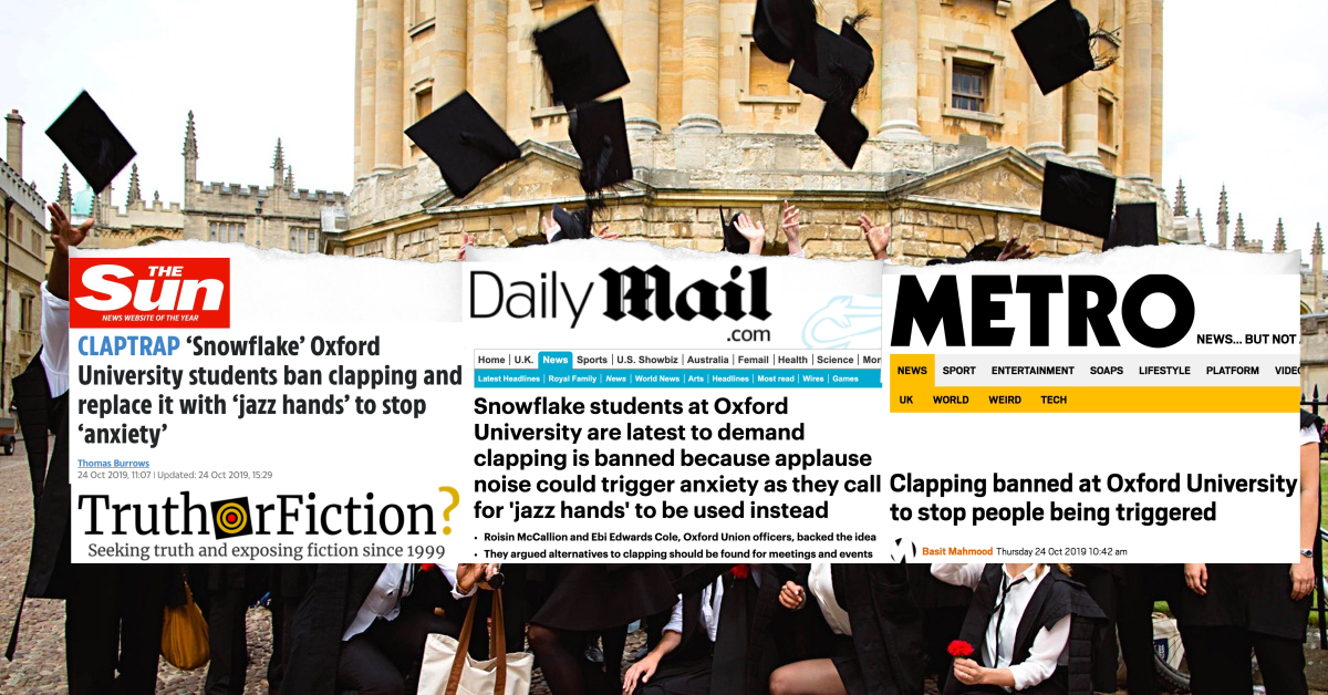 'University of Oxford Clapping Ban' Rumor