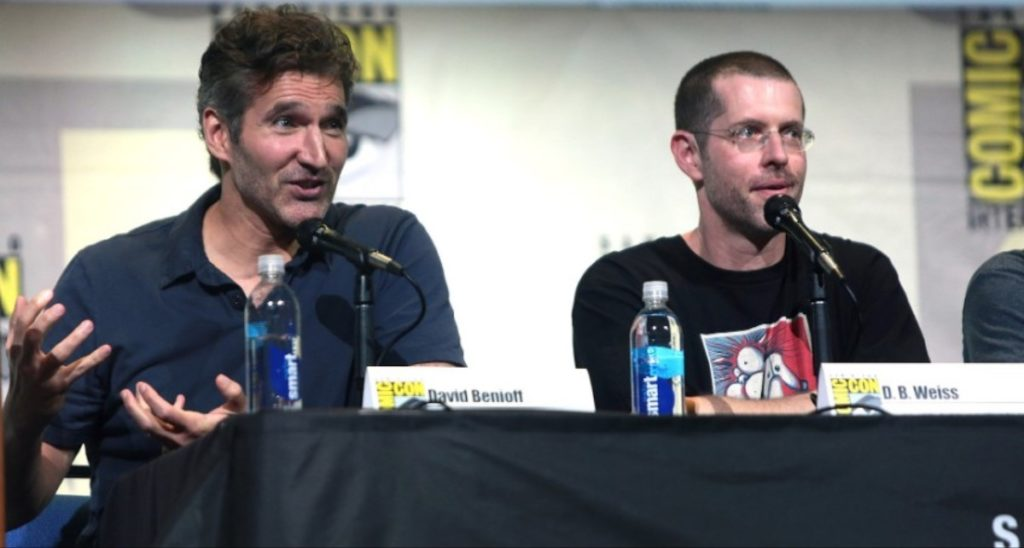 "David Benioff and D. B. Weiss speaking at the 2016 San Diego Comic Con International, for ""Game of Thrones"", at the San Diego Convention Center in San Diego, California."