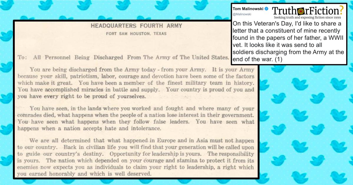 Lawmaker Brings World War II Discharge Letter to Light Online