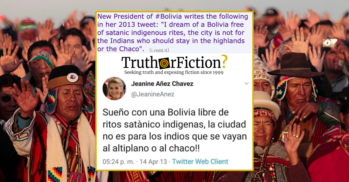 Archived Tweets Show Bolivian Interim President Smearing Indigenous 'Satanists'