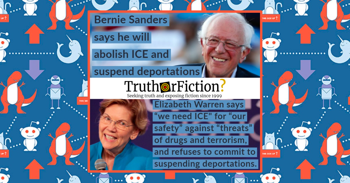 Did Bernie Sanders Say 'Abolish ICE' While Elizabeth Warren Said 'We Need ICE'?
