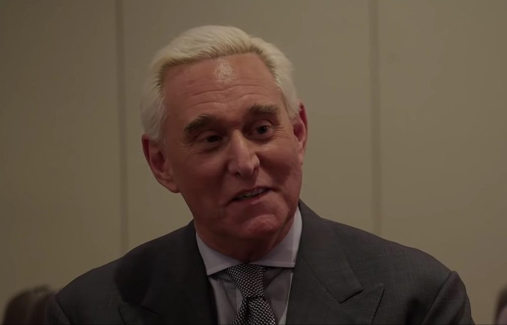 "Still from ""The Circus"" during an interview with Roger Stone about his indictments in 2019."
