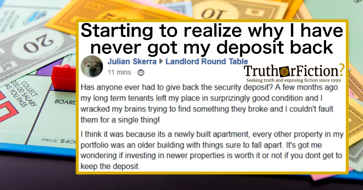 'Has Anyone Had to Give Back the Security Deposit?' Landlord Round Table Facebook Group Post