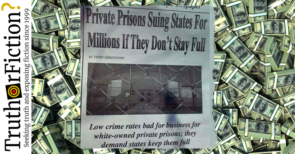 Are Private Prisons Suing States for Millions of Contract Quotas?