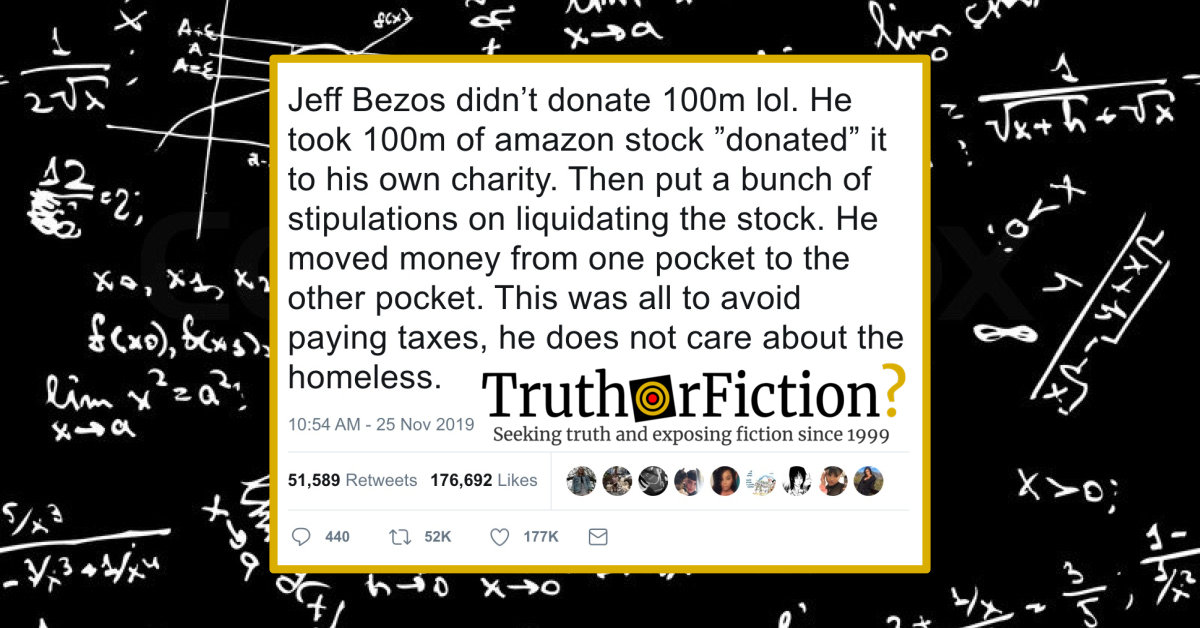 'Jeff Bezos Didn't Donate $100M LOL, He Took $100M of Amazon Stock and 'Donated' it to His Own Charity' Meme