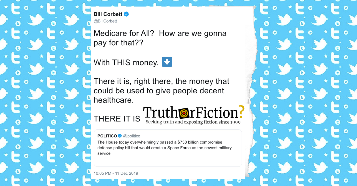 'Medicare for All? How Are We Gonna Pay for That? With THIS Money' Post
