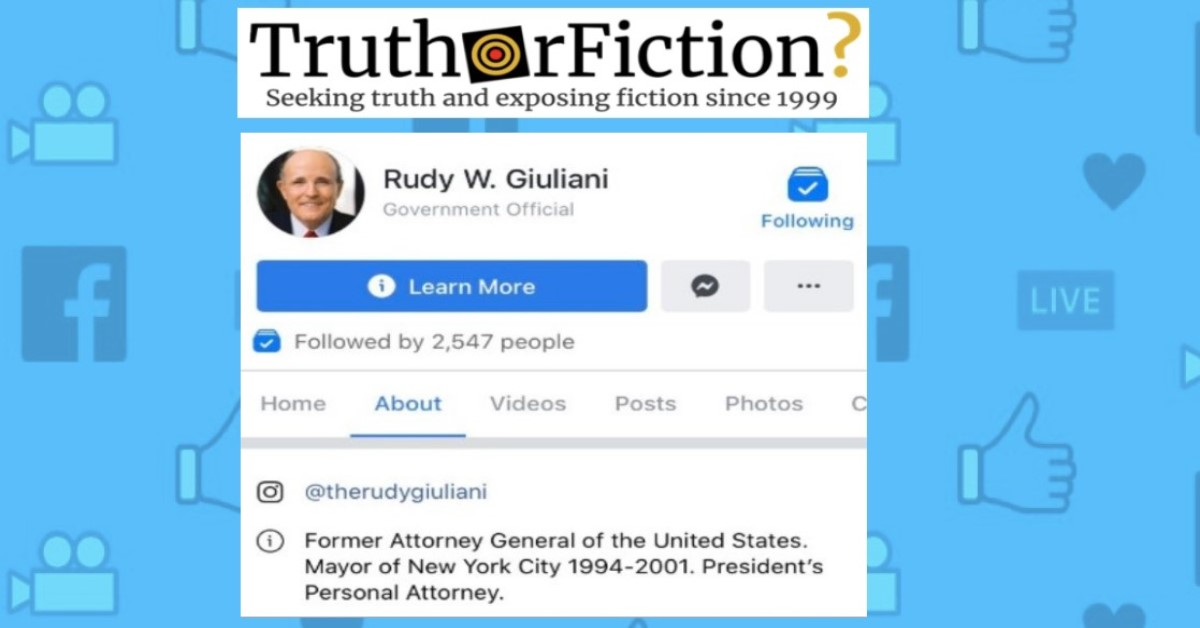 Rudy Giuliani Criticized After Describing Himself as a 'Former Attorney General' on Facebook