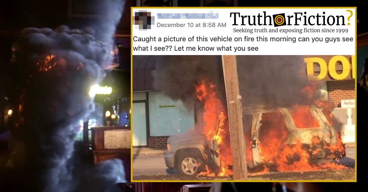 What Do You See in This Image of a Vehicle on Fire?