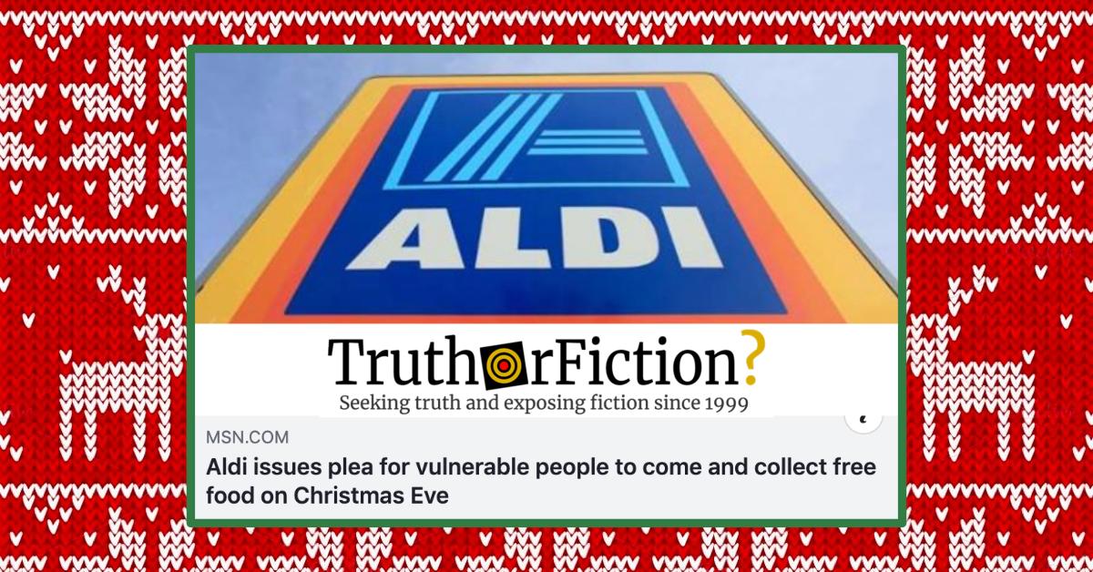 Aldi 'Free Food on Christmas Eve' Facebook Post