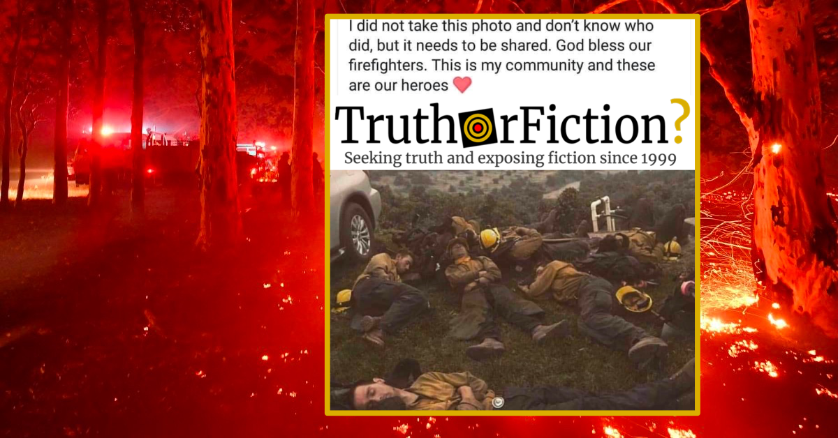 'I Did Not Take This Photo and I Don't Know Who Did' Australian Community Firefighters Image