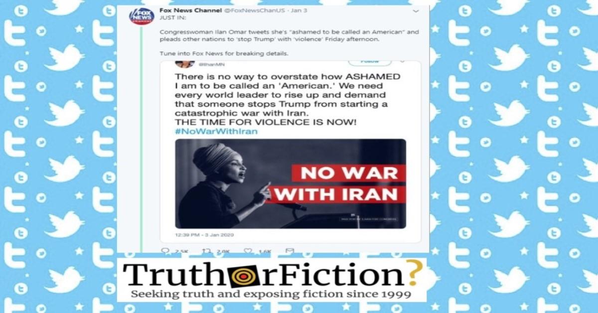 Fake Fox News Twitter Smears Rep. Ilhan Omar