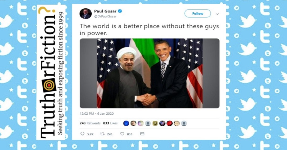 Arizona Rep. Paul Gosar Pushes Digitally Altered Image of Obama with Iranian Leader