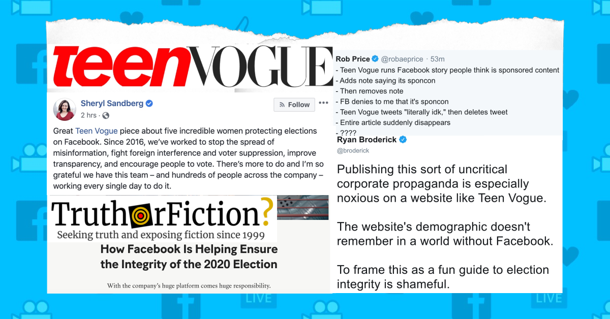 Teen Vogue Publishes, Unpublishes Mysterious Sponsored 'Facebook Election Integrity' Piece