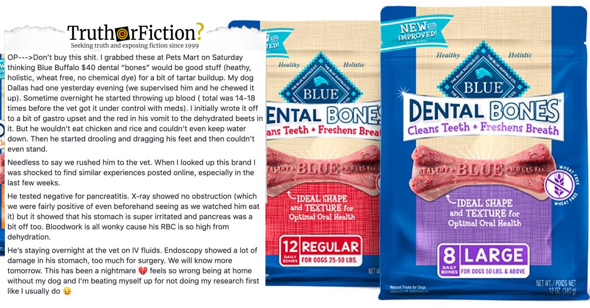 'Blue Buffalo Dental Bones Hemorrhagic Gastritis' Facebook Warning