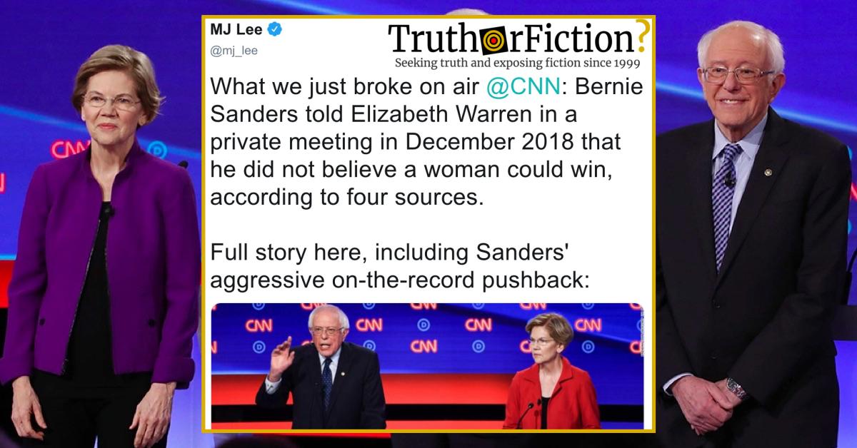 Did Bernie Sanders Tell Elizabeth Warren a Woman Couldn't Win a Presidential Election?