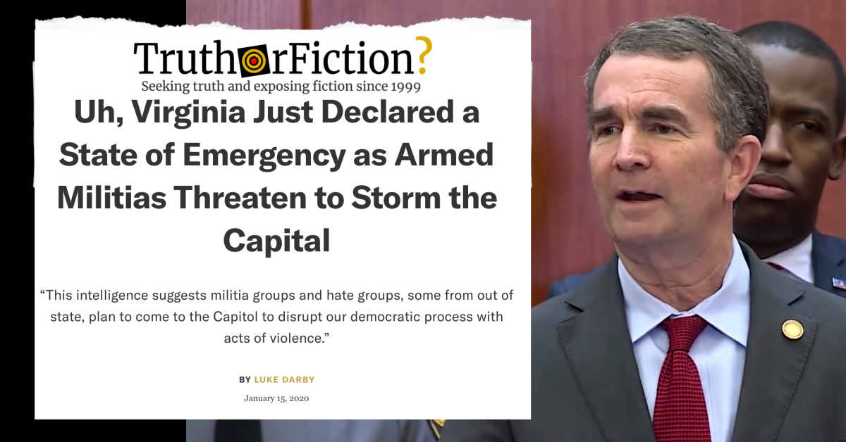 Did Virginia Declare a State of Emergency Due to Armed Militias?
