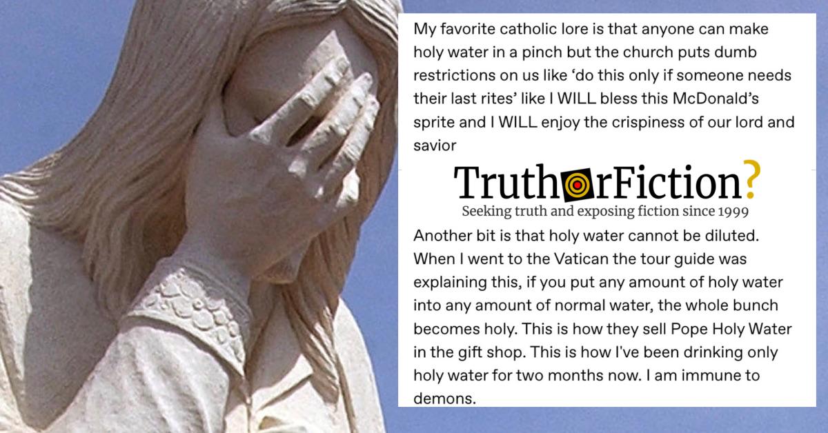'My Favorite Catholic Lore' Holy Water Facts Meme