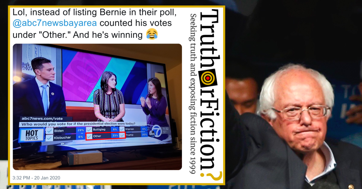 Local News Station Conducts Voting Poll Listing Bernie Sanders as 'Other'?