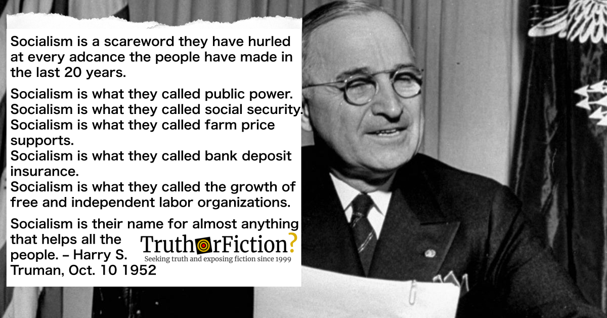 Harry S. Truman: 'Socialism is a Scare Word'